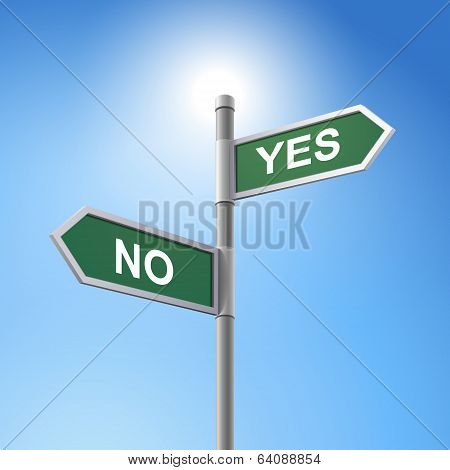 3D Road Sign Saying Yes And No