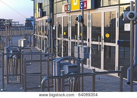 Minsk, Belarus - April, 26: Security Check-point In Front Of Minsk-arena Ice-hockey Dome