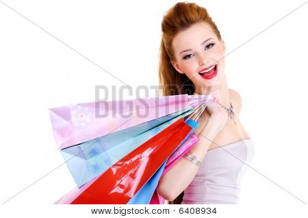 Happy Laughing Girl With Purchases