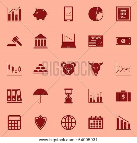 Stock Market Color Icons On Red Background
