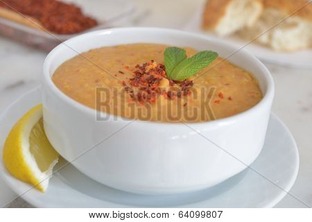Turkish red lentil soup with Aleppo pepper