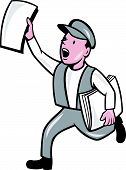foto of newsboy  - Illustration of a newsboy shouting selling newspaper running on isolated background done in cartoon style - JPG