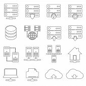 pic of mainframe  - Hosting technology computer global network security and communications icons set isolated vector illustration - JPG