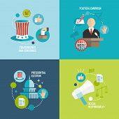 stock photo of debate  - Presidential election transparency and confidence social responsibility political campaign decorative icons set isolated vector illustration - JPG