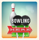 image of 1950s style  - Retro Neon Sign Bowling lettering in the style of American roadside advertising vintage style 1950s - JPG