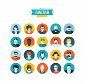 stock photo of avatar  - Set of modern vector flat design icons - JPG