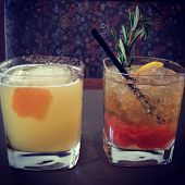 image of mezcal  - Two colorful mixology cocktails - JPG