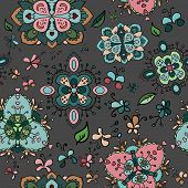 image of dingy  - Doodle bright flowers on dingy backgound seamless pattern - JPG