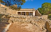 picture of minos  - There are many shady alleys among the ruins of Knossos Palace where trevelers can relax and enjoy the great views of ancient architecture Crete Greece - JPG