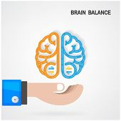 stock photo of left brain  - Creative colorful left and right brain Idea concept backgroundBrain balance concept  - JPG