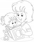 picture of kiddie  - Mom reads a book to her infant daughter - JPG