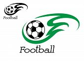 picture of emerald  - Soccer ball with green flame for sport symbol or emblem - JPG