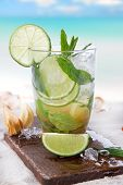picture of mojito  - Fresh mojito drink on beach - JPG