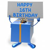 foto of sweet sixteen  - Happy 16th Birthday Sign and Gift Showing Sixteenth Party - JPG