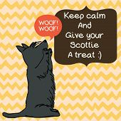 image of scottie dog  - Cute card template with sketch of a sweet sitting Scottish terrier and figure frames for the text on doodle chevron background - JPG