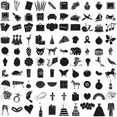 stock photo of ring-dove  - Vector Illustration of 100 Icon Objects with outlines - JPG