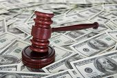 picture of bill-of-rights  - Judge gavel and dollar bills. Corruption concept ** Note: Shallow depth of field - JPG