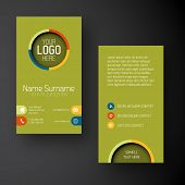 image of placeholder  - Modern simple green vertical business card template with some placeholder - JPG