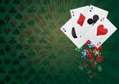 stock photo of ace spades  - illustration of aces poker with colorful chips casino - JPG