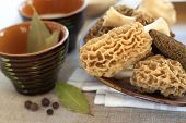 stock photo of morchella mushrooms  - Fresh spring morel mushrooms on a plate