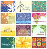 stock photo of get well soon  - all occasion greeting card set 12 designs - JPG