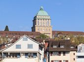 stock photo of zurich  - Zurich University tower decorated with Zurich flags - JPG