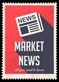 stock photo of mass media  - Market News on Red Background - JPG