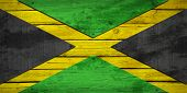 stock photo of jamaican flag  - Jamaican flag painted on wooden boards - JPG