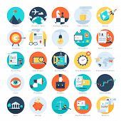 stock photo of promoter  - Vector collection of colorful flat business and finance icons - JPG