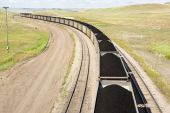 foto of railcar  - rail cars loaded with coal being transported from nearby mines to power plants in Wyoming - JPG