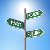 picture of past future  - crossroad 3d vector road sign saying present and past and future - JPG