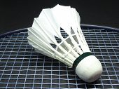 stock photo of shuttlecock  - Single shuttlecock on a badminton racket in black background - JPG