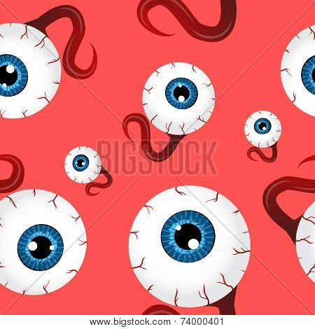 Funny Seamless Pattern With Eyeballs Over Red Background