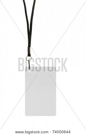 Blank badge with neckband on white background