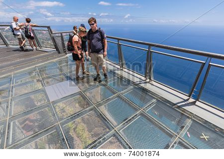 Tourists Visiting  The Cliffs Of Gabo Girao At Madeira Island