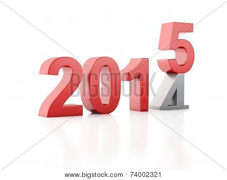 3d 2015. New Year concept on  white background