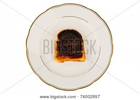 toast was burned during toasting. burnt toast at breakfast.