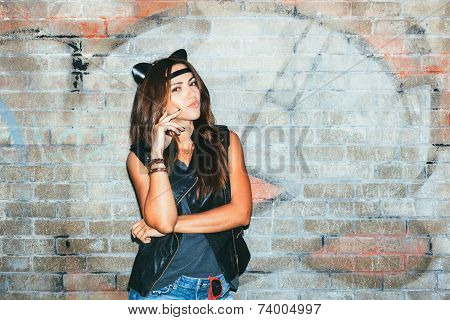 Bad Girl With Leather Cat Ears.