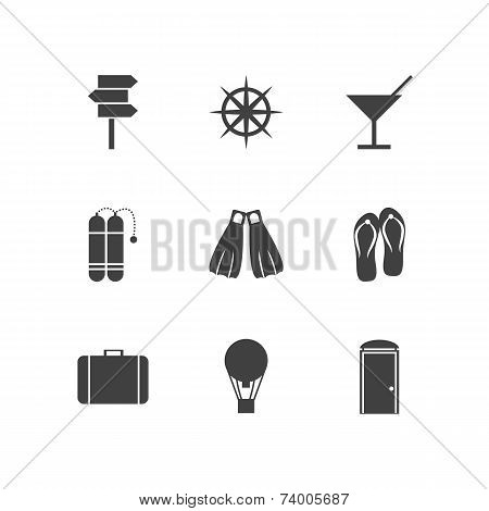 Black vector icons for leisure