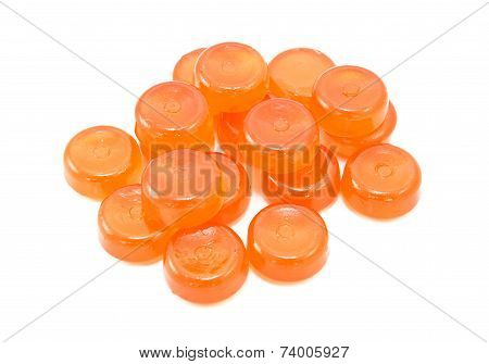 Pile Of Orange Boiled Sweets
