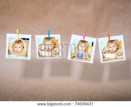 beautiful little girl sitting in a highchair and drinks. collage