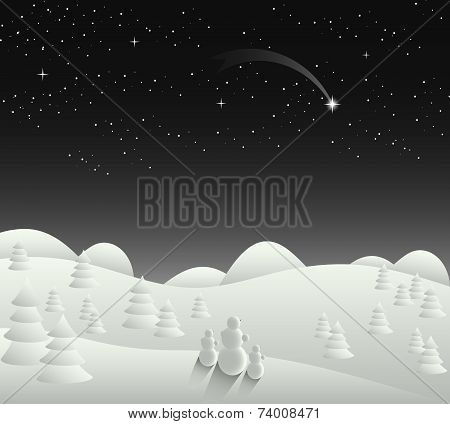 Winter Christmas Card Landscape With Falling Star