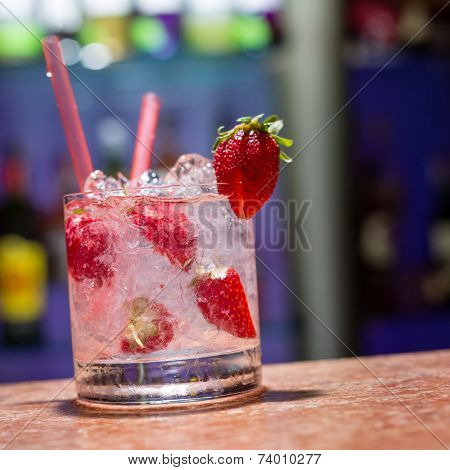 Glass Of Strawberry Mojito