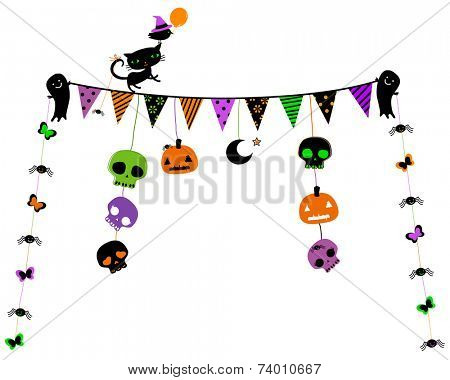 halloween party design with cat, ghosts, skulls
