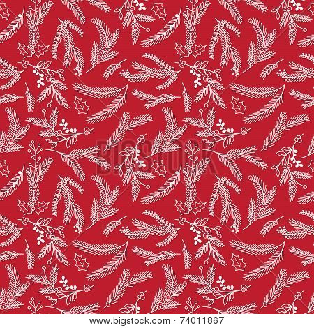Seamless Tileable Christmas Holiday Floral Background Pattern - Vector Illustration