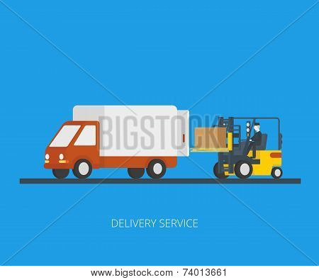 Delivery truck with forklift