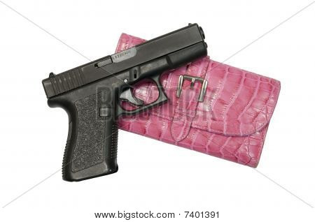 Black Gun and Pink Clutch Hand Bag