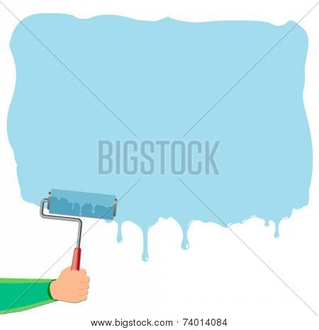 hand roller with wet paint - flat design vector