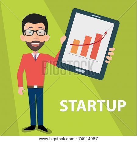 startup entrepreneur presenting information on tablet pc