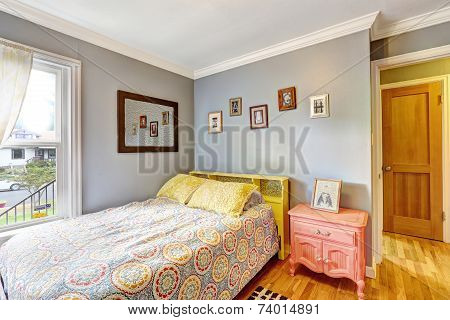 Simple Bedroom With Light Blue Walls
